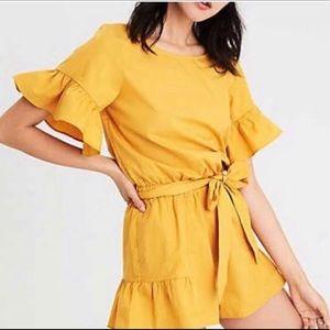 yellow ruffle jumper Romper shorts